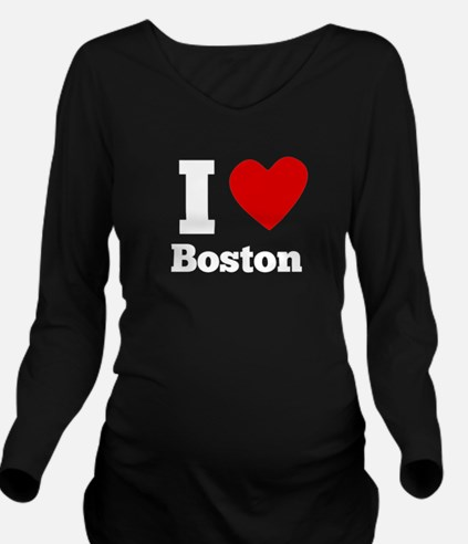 I Heart Boston Long Sleeve Maternity T-Shirt