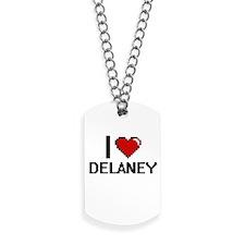 I Love Delaney Digital Retro Design Dog Tags