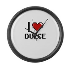 I Love Dulce Digital Retro Design Large Wall Clock