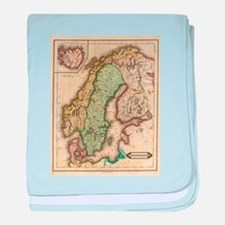 Vintage Map of Norway and Sweden (183 baby blanket