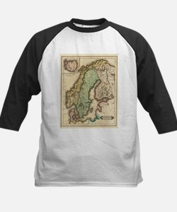 Vintage Map of Norway and Sweden ( Baseball Jersey