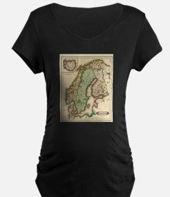 Vintage Map of Norway and Sweden Maternity T-Shirt