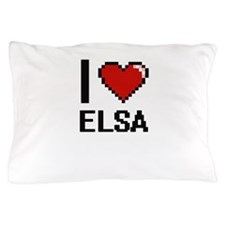 I Love Elsa Digital Retro Design Pillow Case