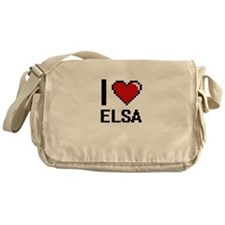 I Love Elsa Digital Retro Design Messenger Bag