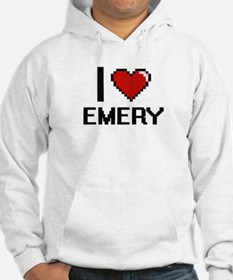 I Love Emery Digital Retro Desig Hoodie