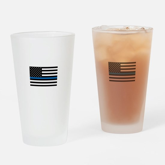 Blue Line Drinking Glass