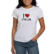 I Love Evelin Digital Retro Design T-Shirt
