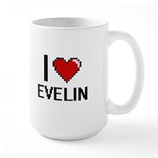 I Love Evelin Digital Retro Design Mugs