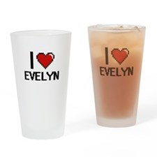 I Love Evelyn Digital Retro Design Drinking Glass