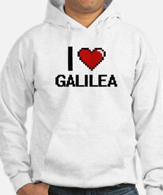 I Love Galilea Digital Retro Des Hoodie Sweatshirt