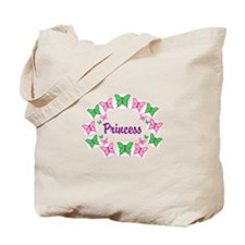 Princess Pink and Green Butterfly Tote Bag