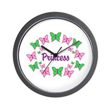 Princess Pink and Green Butterfly Wall Clock