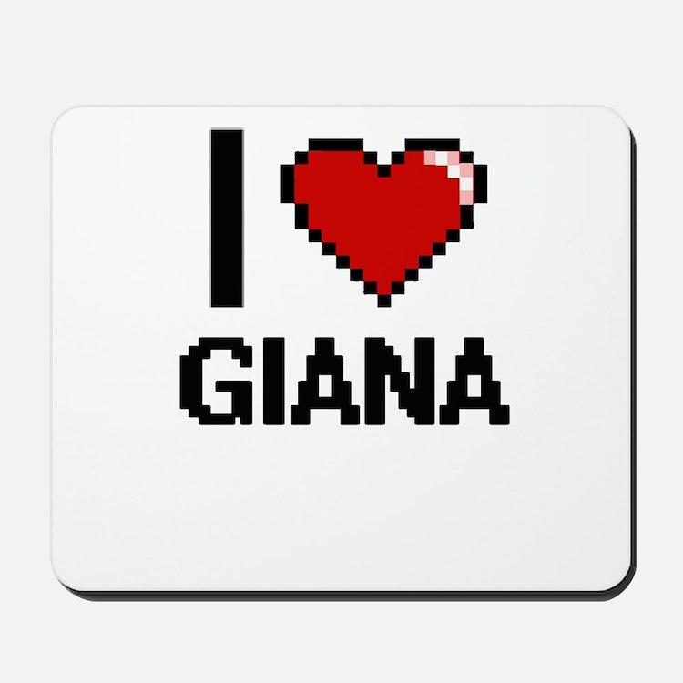I Love Giana Digital Retro Design Mousepad