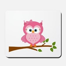 Pink Owl on a Branch Mousepad