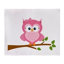 Pink Owl on a Branch Throw Blanket