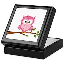 Pink Owl on a Branch Keepsake Box