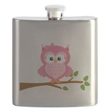 Pink Owl on a Branch Flask