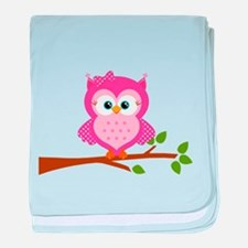 Pink Owl on a Branch baby blanket
