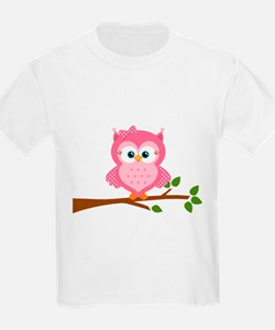 Pink Owl on a Branch T-Shirt