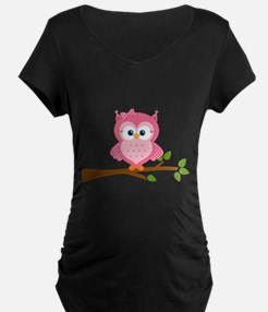 Pink Owl on a Branch Maternity T-Shirt