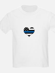 Blue line flag heart T-Shirt