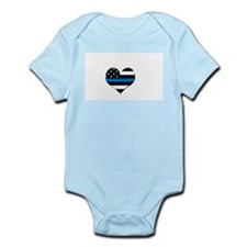 Blue line flag heart Body Suit