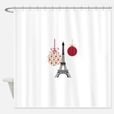 Merry Christmas Eiffel Tower Ornaments Shower Curt