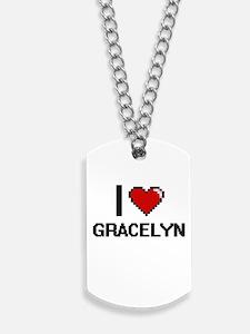 I Love Gracelyn Digital Retro Design Dog Tags