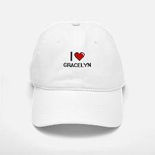 I Love Gracelyn Digital Retro Design Baseball Baseball Cap