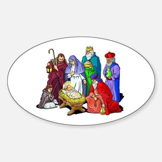 Colorful Christmas Nativity Scene Decal