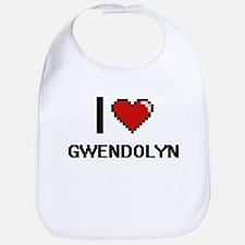 I Love Gwendolyn Digital Retro Design Bib