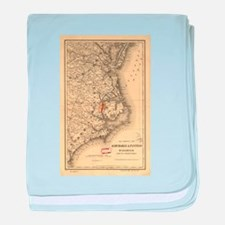 Vintage Map of The North Carolina Coa baby blanket