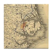 Vintage Map of The North Carolina Coa Tile Coaster