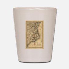 Vintage Map of The North Carolina Coast Shot Glass
