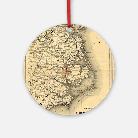 Vintage Map of The North Carolina Ornament (Round)