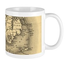Vintage Map of The North Carolina Coast (1887 Mugs