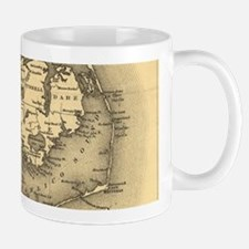 Vintage Map of The North Carolina Coast (1887 Mugs