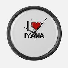 I Love Iyana Digital Retro Design Large Wall Clock