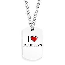 I Love Jacquelyn Digital Retro Design Dog Tags