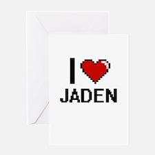 I Love Jaden Digital Retro Design Greeting Cards