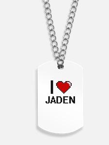 I Love Jaden Digital Retro Design Dog Tags
