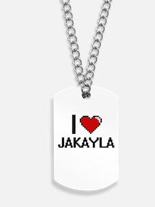 I Love Jakayla Digital Retro Design Dog Tags