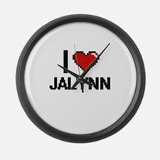 I Love Jalynn Digital Retro Desig Large Wall Clock