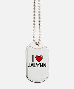 I Love Jalynn Digital Retro Design Dog Tags