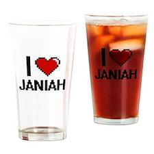 I Love Janiah Digital Retro Design Drinking Glass