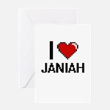 I Love Janiah Digital Retro Design Greeting Cards
