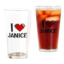 I Love Janice Digital Retro Design Drinking Glass