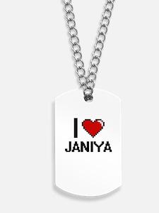 I Love Janiya Digital Retro Design Dog Tags