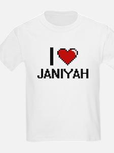 I Love Janiyah Digital Retro Design T-Shirt