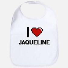 I Love Jaqueline Digital Retro Design Bib